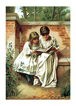 Sisters Reading (Books and Readers Art Prints)