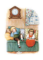 Boy & Girl Reading (Books and Readers Art Prints)
