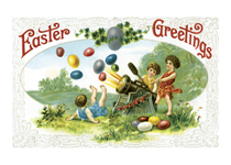 Cannon Shooting Eggs (Easter Greeting Cards)
