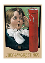 Boy With Firecracker (Classic 4th of July Greeting Cards)
