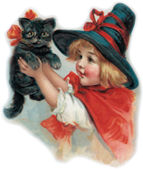 Girl With Black Cat (Classic Halloween Art Prints)