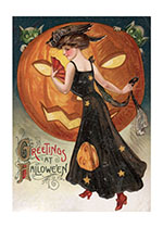 Halloween Lady with a Pumpkin (Classic Halloween Art Prints)