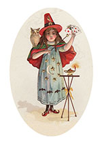 Witch With Playing Cards (Classic Halloween Art Prints)