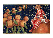 Lady with Pumpkin People (Halloween Greeting Cards)
