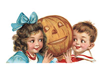 Boy and Girl with Pumpkin (Classic Halloween Art Prints)