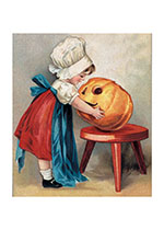 Girl with Jack-o-Lantern (Classic Halloween Art Prints)