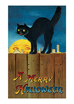 Black Cat on a Fence (Classic Halloween Art Prints)