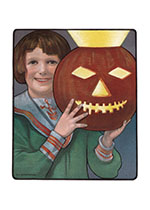 Happy Boy with a Brilliantly Lit Pumpkin (Halloween Greeting Cards)