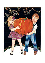 Two Children with a Giant Pumpkin (Classic Halloween Greeting Cards)