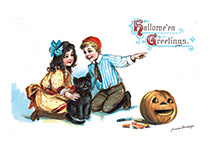 Two Children, a Black Cat and a Jack-o-Lantern