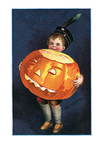 Boy Holding Big Pumpkin (Classic Halloween Art Prints)
