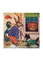 Animals Startled by a Jack-O-Lantern (Classic Halloween Art Prints)