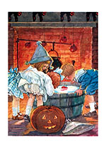 Children Bobbing for Apples (Classic Halloween Greeting Cards)