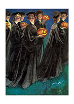Girls in Graduation Gowns Carrying Jack-O-Lanterns (Halloween Greeting Cards)