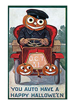 Pumpkin-man Driving an Antique Automobile