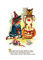 Boy with an Owl Sitting on a Lit Jack-o-Lantern