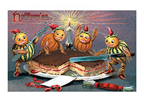 Gourd Elves Cutting a Cake (Classic Halloween Art Prints)