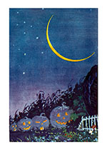 Jack-o-Lanterns in the night with a lovely crescent moon. (Classic Halloween Greeting Cards)