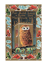 Owl with Message,For Auld Lang Syne This Halloween (Halloween Greeting Cards)