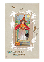 Girl Witch Bringing Halloween Greetings (Classic Halloween Greeting Cards)