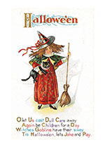 Witch With Cat and Broom (Classic Halloween Art Prints)