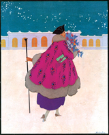 Woman in Pink Coat (Jazz Age Fashion Greeting Cards)