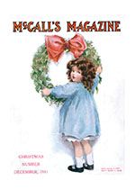 A Little Girl Hanging a Wreath (Magazine Covers Christmas Greeting Cards)