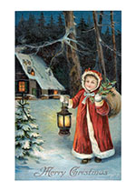 A Girl With Holly and Lantern (Children Enjoying Christmas Greeting Cards)