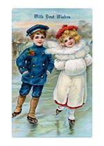 A Boy and A Girl Skating - Best Wishes at Christmas (Children Enjoying Christmas Greeting Cards)