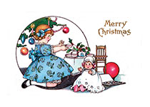 Girl With Dolls (Children Enjoying Christmas Greeting Cards)