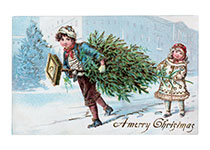 Children With Christmas Tree (Children Enjoying Christmas Greeting Cards)