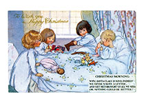 Children Opening Their Christmas Stockings (Children Enjoying Christmas Greeting Cards)