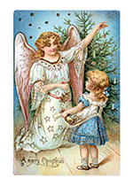 A Girl With A Christmas Angel (Children Enjoying Christmas Greeting Cards)