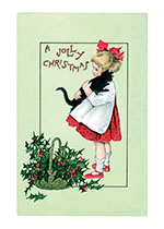 Girl and Black Cat A Jolly Christmas (Children Enjoying Christmas Greeting Cards)