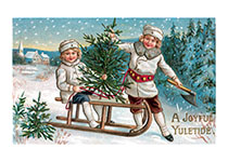 Sledding Fun at Christmas (Children Enjoying Christmas Greeting Cards)