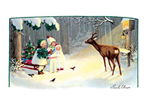 Children Feeding Animals in the Winter (Children Enjoying Christmas Greeting Cards)
