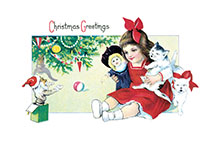 Girl With Doll & Cat (Children Enjoying Christmas Greeting Cards)