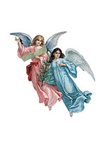 Two Christmas Angels in Flight (Many More Christmas Art Prints)