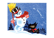 Snowman and a Scottie Dog (Snowmen Christmas Art Prints)
