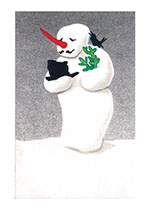Snowman with a Black Bird (Snowmen Christmas Art Prints)