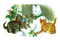 Cats with a Snowcat (Snowmen Christmas Art Prints)