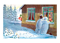 Snow Couple Looking in a Window (Snowmen Christmas Art Prints)