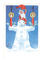 Snowman WIth Elf (Snowmen Christmas Greeting Cards)