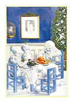 Snowfamily Christmas Dinner (Snowmen Christmas Art Prints)