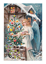 Angel Decorating a Christmas Tree (Many More Christmas Art Prints)
