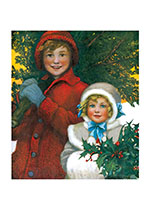 Girls With Christmas Greenery (Children Enjoying Christmas Greeting Cards)