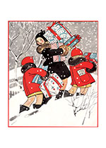 Christmas Gifts Through The Snow (Children Enjoying Christmas Greeting Cards)
