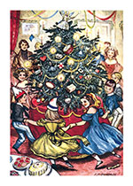 Dancing Around the Christmas Tree (Children Enjoying Christmas Greeting Cards)
