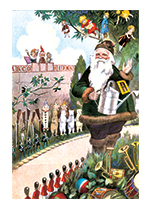 Santa in his Garden (Santa Claus Christmas Art Prints)