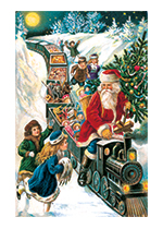 Santa Bringing Toys on a Train (Santa Claus Christmas Art Prints)